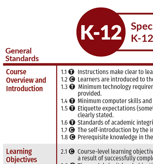 close up of K-12 specific review standards showing t and c next to review standard number