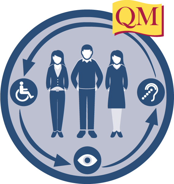 people in a circle with wheelchair, eye and ear symbols
