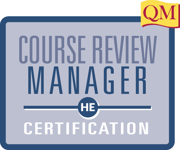 course review manager certification text in blue box