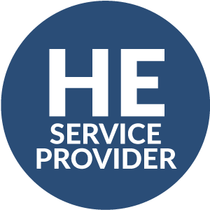 blue circle with HE service provider inside