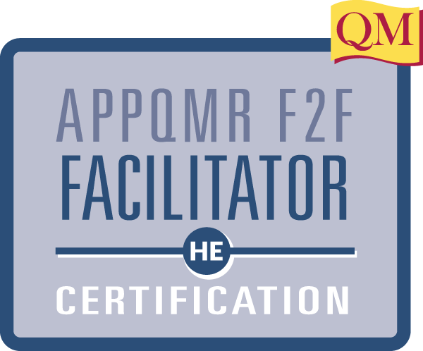 appqmr face-to-face facilitator certification text inside blue square