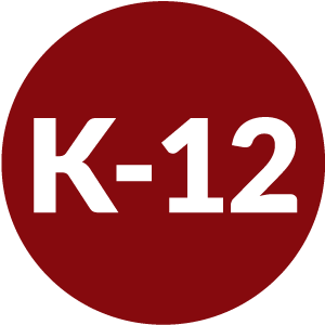 Red circle with K-12 inside