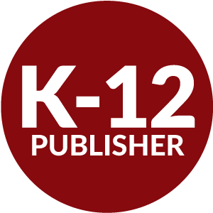 Red circle with K-12 publisher inside