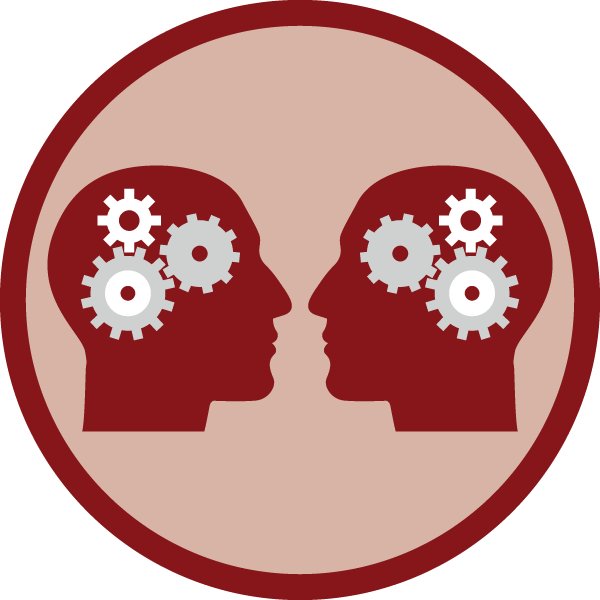 two heads with gears for brains facing each other inside a circle