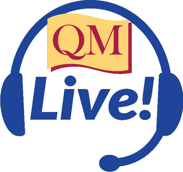 blue headphones with QM Live! inside and the QM logo above.