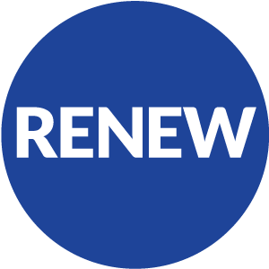 blue circle with renew inside