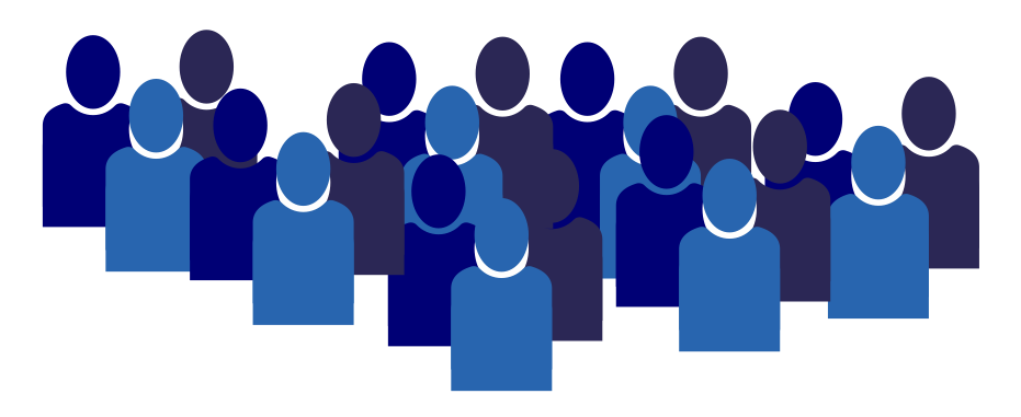 blue figures representing a group of learners