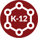red circle with K-12 surrounded by linked spheres