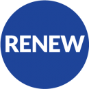 blue circle with renew in middle