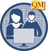 DYOB icon, two people and computer screen in a circle