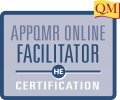 appqmr online facilitator certification text inside blue square