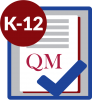 K-12 in red circle on top of paper with check mark that has QM on it