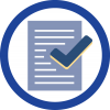 blue circle with document and checkmark inside